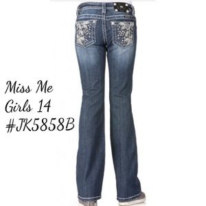 Miss Me Girls 14 JK5858B Boot Cut Jeans Rhinestone